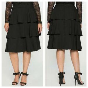 Tiered Ruffle Midi Skirt